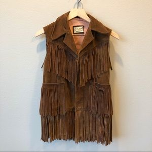 Vintage Fringe Leather Suede Vest Pypsa Brown